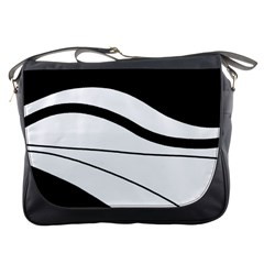 White And Black Harmony Messenger Bags by Valentinaart