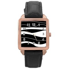 Black Light Rose Gold Leather Watch  by Valentinaart