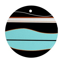 Cyan, Black And White Waves Ornament (round)  by Valentinaart