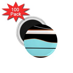 Cyan, Black And White Waves 1 75  Magnets (100 Pack)  by Valentinaart