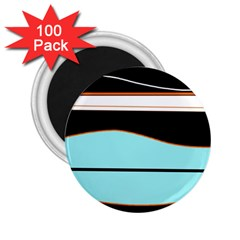 Cyan, Black And White Waves 2 25  Magnets (100 Pack)  by Valentinaart
