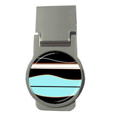 Cyan, Black And White Waves Money Clips (round)  by Valentinaart