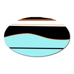 Cyan, Black And White Waves Oval Magnet by Valentinaart