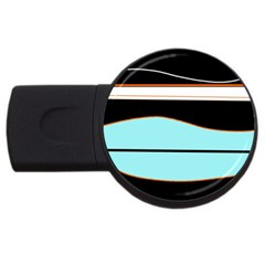 Cyan, Black And White Waves Usb Flash Drive Round (2 Gb)  by Valentinaart