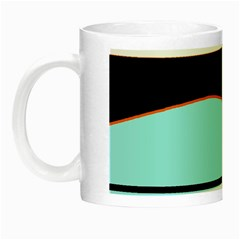 Cyan, Black And White Waves Night Luminous Mugs by Valentinaart