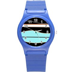 Cyan, Black And White Waves Round Plastic Sport Watch (s) by Valentinaart