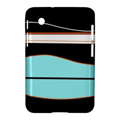 Cyan, Black And White Waves Samsung Galaxy Tab 2 (7 ) P3100 Hardshell Case  by Valentinaart