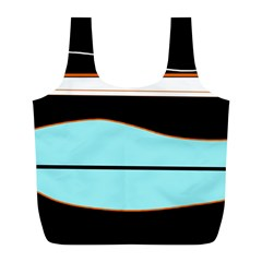 Cyan, Black And White Waves Full Print Recycle Bags (l)  by Valentinaart