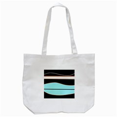 Cyan, Black And White Waves Tote Bag (white) by Valentinaart