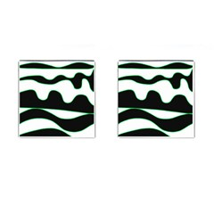 Green, White And Black Cufflinks (square) by Valentinaart
