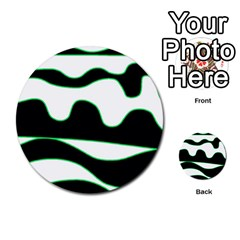 Green, White And Black Multi Purpose Cards (round)  by Valentinaart