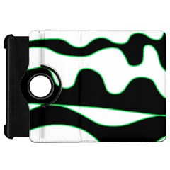 Green, White And Black Kindle Fire Hd Flip 360 Case by Valentinaart