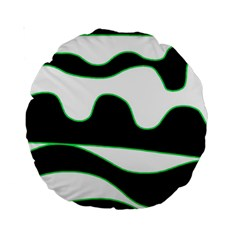 Green, White And Black Standard 15  Premium Round Cushions by Valentinaart