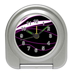 Purple, White And Black Lines Travel Alarm Clocks by Valentinaart