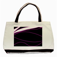 Purple, White And Black Lines Basic Tote Bag (two Sides) by Valentinaart