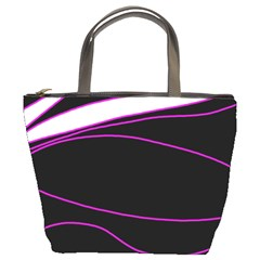 Purple, White And Black Lines Bucket Bags by Valentinaart
