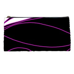 Purple, White And Black Lines Pencil Cases by Valentinaart