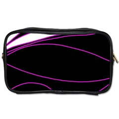 Purple, White And Black Lines Toiletries Bags by Valentinaart