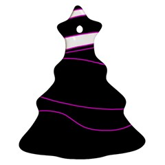 Purple, White And Black Lines Christmas Tree Ornament (2 Sides) by Valentinaart