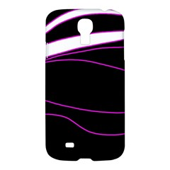 Purple, White And Black Lines Samsung Galaxy S4 I9500/i9505 Hardshell Case by Valentinaart