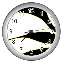 Yellow, Black And White Wall Clocks (silver)  by Valentinaart