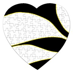 Yellow, Black And White Jigsaw Puzzle (heart) by Valentinaart