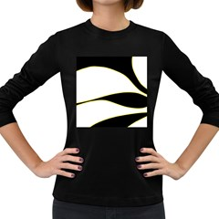 Yellow, Black And White Women s Long Sleeve Dark T Shirts by Valentinaart