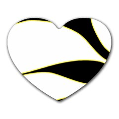 Yellow, Black And White Heart Mousepads by Valentinaart