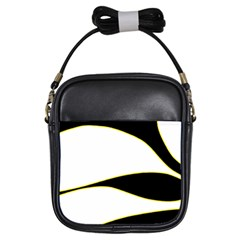 Yellow, Black And White Girls Sling Bags by Valentinaart