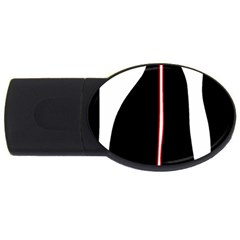 White, Red And Black Usb Flash Drive Oval (2 Gb)  by Valentinaart