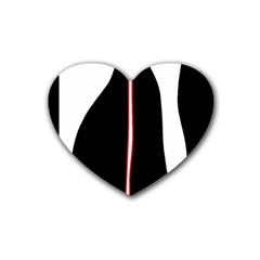 White, Red And Black Rubber Coaster (heart)  by Valentinaart