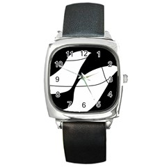 White And Black Shadow Square Metal Watch by Valentinaart