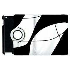 White And Black Shadow Apple Ipad 2 Flip 360 Case by Valentinaart