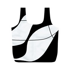 White And Black Shadow Full Print Recycle Bags (m)  by Valentinaart