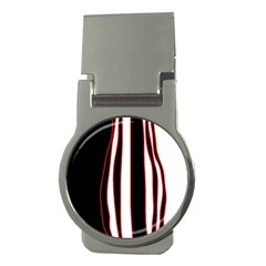 White, Red And Black Lines Money Clips (round)  by Valentinaart