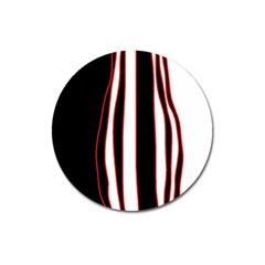 White, Red And Black Lines Magnet 3  (round) by Valentinaart