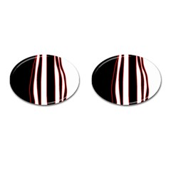 White, Red And Black Lines Cufflinks (oval) by Valentinaart