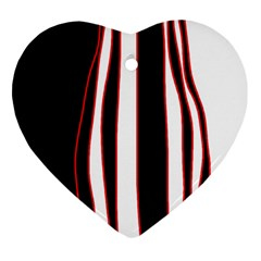 White, Red And Black Lines Heart Ornament (2 Sides) by Valentinaart
