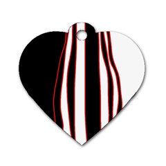 White, Red And Black Lines Dog Tag Heart (one Side) by Valentinaart