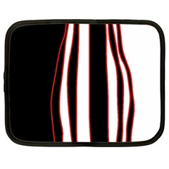 White, Red And Black Lines Netbook Case (large) by Valentinaart