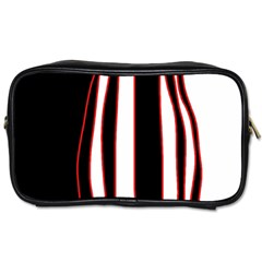 White, Red And Black Lines Toiletries Bags by Valentinaart