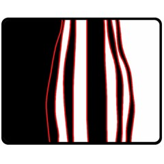White, Red And Black Lines Fleece Blanket (medium)  by Valentinaart