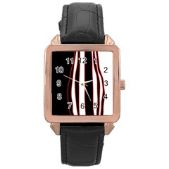White, Red And Black Lines Rose Gold Leather Watch  by Valentinaart