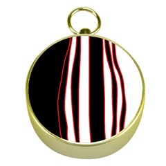 White, Red And Black Lines Gold Compasses by Valentinaart