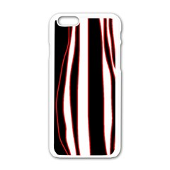 White, Red And Black Lines Apple Iphone 6/6s White Enamel Case by Valentinaart