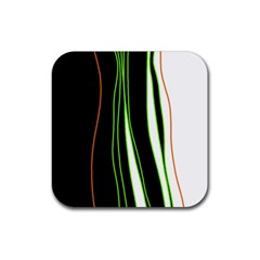 Colorful Lines Harmony Rubber Square Coaster (4 Pack)  by Valentinaart