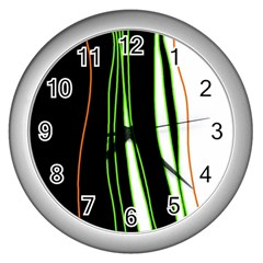 Colorful Lines Harmony Wall Clocks (silver)  by Valentinaart