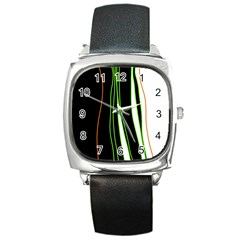Colorful Lines Harmony Square Metal Watch by Valentinaart