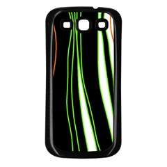 Colorful Lines Harmony Samsung Galaxy S3 Back Case (black) by Valentinaart