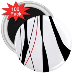 Red, White And Black Elegant Design 3  Magnets (100 Pack) by Valentinaart